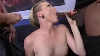 Miley Cyrus Lookalike 2 Big Black Cocks and Cuckold BF feat. Miley May