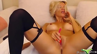 Amazing hot blond BBC cuckold Luan with the long nipples