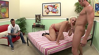 Big Tit Blonde Wife Fucks Big DIck In Front Of Cuckold Husband
