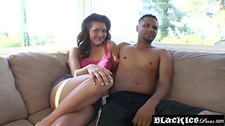 Spunk smeared MILF cucks her man with big black stud