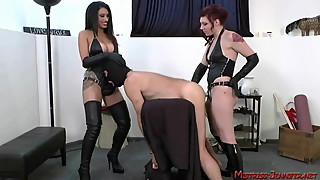 So many beautiful femdom Mistresses tormenting male slaves
