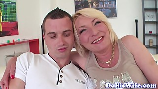 Chubby milf banged by bbc in front of hubby