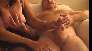wife Linda licks and wanks old mans cock