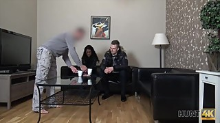 HUNT4K. Cameraman fucks comely brunette next to her grumpy cuckold