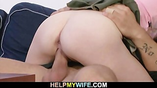 Lovely blonde wife cucks old hubby