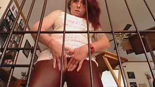 Caged pussy denial for cuckold findom chastity slave loser
