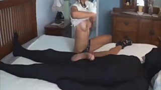 black girl with small tits gives handjob to big cock