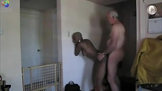 Older White Man Visits His Ebony Lover for a Cuckold