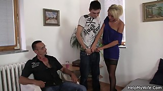 Young guy invited for cuckold session