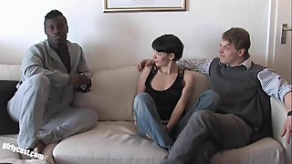 Pia Sofie's first black cock while her cuckold is watching