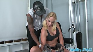 Cuckolding wife doggystyled in the gym
