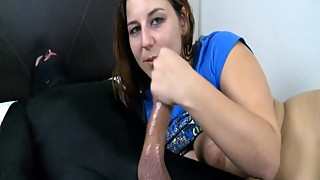 cruel wife taunts husband during cuckold handjob