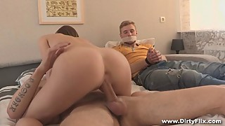 Housewife cuckolds her husband in his presence