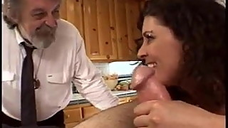 Bruenette Wife Gets Fucked By Old Dave and Ron in Kitchen