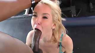 A hotwife enjoys a BBC in a gym while hubby watches