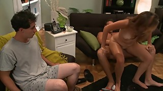 Cuckold husband offers his wife to an hard cock