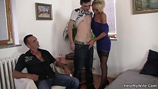 Old man calls him to fuck his young blonde wife