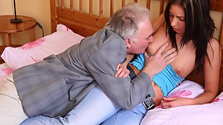 Dumb cuckold lets old grandpa fuck his good looking girlfriend
