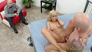 hot blonde wife Darci Taylor fucking with stranger in front of her husband