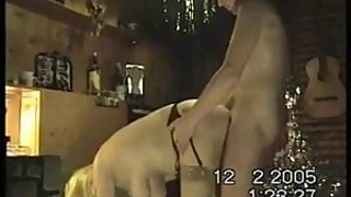 Mature wife's big tits sway as stranger fucks her standing