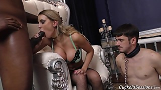 Busty MILF fucked by black in front of cuckold