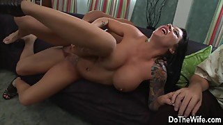 Sexy brunette wife Mason Moore sucks and fucks while husband watches